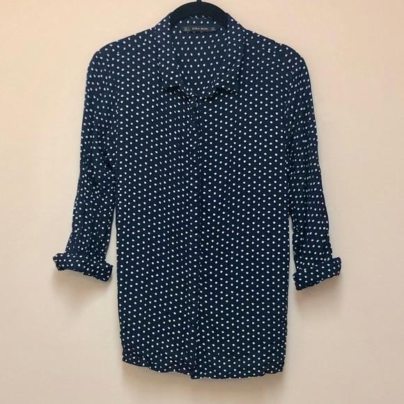 070df6cc Zara Tops | Sale Navy White Polka Dot Shirt | Poshmark
